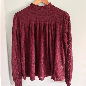 Cupio High-neck Lace Blouse - Maroon